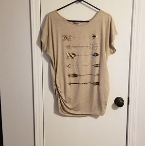 Tan top with arrows on it and ruching on the side